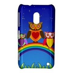 Owls Rainbow Animals Birds Nature Nokia Lumia 620