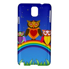Owls Rainbow Animals Birds Nature Samsung Galaxy Note 3 N9005 Hardshell Case