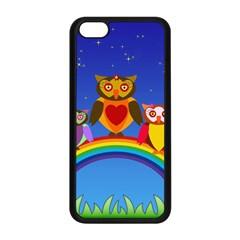 Owls Rainbow Animals Birds Nature Apple Iphone 5c Seamless Case (black)