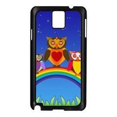 Owls Rainbow Animals Birds Nature Samsung Galaxy Note 3 N9005 Case (black)
