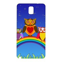 Owls Rainbow Animals Birds Nature Samsung Galaxy Note 3 N9005 Hardshell Back Case