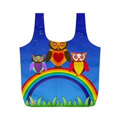 Owls Rainbow Animals Birds Nature Full Print Recycle Bags (m)