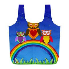 Owls Rainbow Animals Birds Nature Full Print Recycle Bags (l)