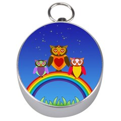 Owls Rainbow Animals Birds Nature Silver Compasses