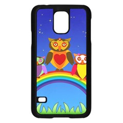 Owls Rainbow Animals Birds Nature Samsung Galaxy S5 Case (black)