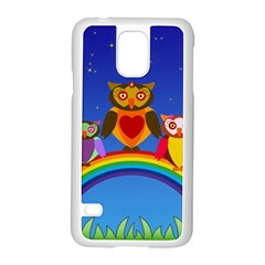 Owls Rainbow Animals Birds Nature Samsung Galaxy S5 Case (white)