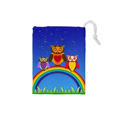 Owls Rainbow Animals Birds Nature Drawstring Pouches (Small)