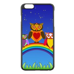 Owls Rainbow Animals Birds Nature Apple iPhone 6 Plus/6S Plus Black Enamel Case