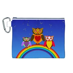 Owls Rainbow Animals Birds Nature Canvas Cosmetic Bag (l)