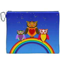 Owls Rainbow Animals Birds Nature Canvas Cosmetic Bag (xxxl)