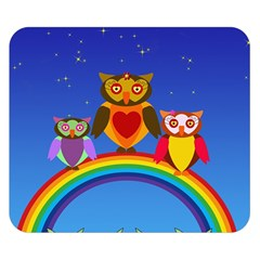 Owls Rainbow Animals Birds Nature Double Sided Flano Blanket (small)