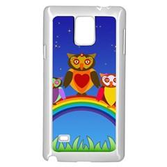 Owls Rainbow Animals Birds Nature Samsung Galaxy Note 4 Case (White)