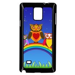 Owls Rainbow Animals Birds Nature Samsung Galaxy Note 4 Case (black)