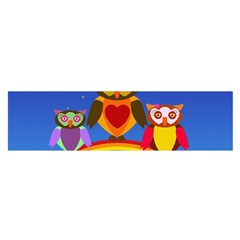 Owls Rainbow Animals Birds Nature Satin Scarf (oblong)