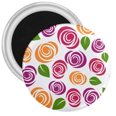 Colorful Seamless Floral Flowers Pattern Wallpaper Background 3  Magnets