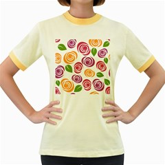 Colorful Seamless Floral Flowers Pattern Wallpaper Background Women s Fitted Ringer T Shirts