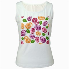 Colorful Seamless Floral Flowers Pattern Wallpaper Background Women s White Tank Top