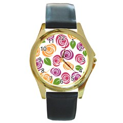 Colorful Seamless Floral Flowers Pattern Wallpaper Background Round Gold Metal Watch