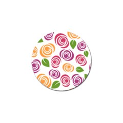 Colorful Seamless Floral Flowers Pattern Wallpaper Background Golf Ball Marker