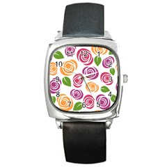 Colorful Seamless Floral Flowers Pattern Wallpaper Background Square Metal Watch