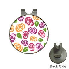 Colorful Seamless Floral Flowers Pattern Wallpaper Background Hat Clips With Golf Markers