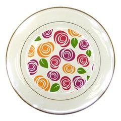 Colorful Seamless Floral Flowers Pattern Wallpaper Background Porcelain Plates