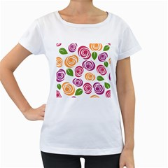 Colorful Seamless Floral Flowers Pattern Wallpaper Background Women s Loose Fit T Shirt (white)
