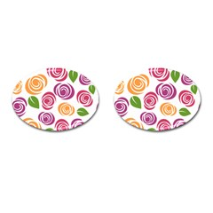 Colorful Seamless Floral Flowers Pattern Wallpaper Background Cufflinks (oval)