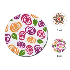 Colorful Seamless Floral Flowers Pattern Wallpaper Background Playing Cards (round)