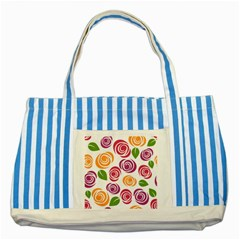 Colorful Seamless Floral Flowers Pattern Wallpaper Background Striped Blue Tote Bag