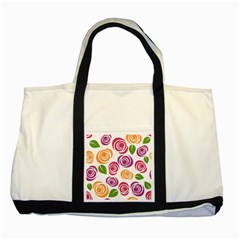 Colorful Seamless Floral Flowers Pattern Wallpaper Background Two Tone Tote Bag