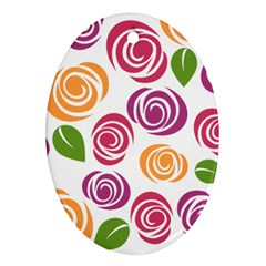 Colorful Seamless Floral Flowers Pattern Wallpaper Background Oval Ornament (two Sides)