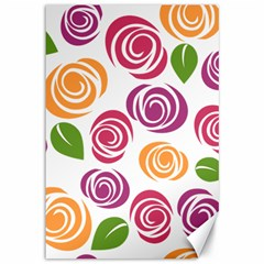 Colorful Seamless Floral Flowers Pattern Wallpaper Background Canvas 12  X 18