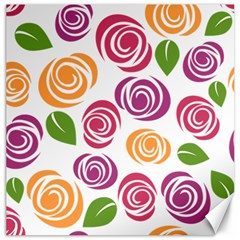 Colorful Seamless Floral Flowers Pattern Wallpaper Background Canvas 16  X 16