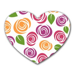 Colorful Seamless Floral Flowers Pattern Wallpaper Background Heart Mousepads