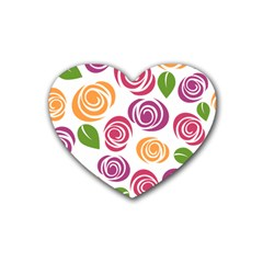 Colorful Seamless Floral Flowers Pattern Wallpaper Background Heart Coaster (4 Pack)