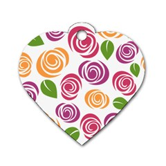 Colorful Seamless Floral Flowers Pattern Wallpaper Background Dog Tag Heart (One Side)