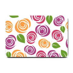 Colorful Seamless Floral Flowers Pattern Wallpaper Background Small Doormat