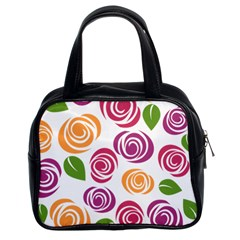 Colorful Seamless Floral Flowers Pattern Wallpaper Background Classic Handbags (2 Sides)