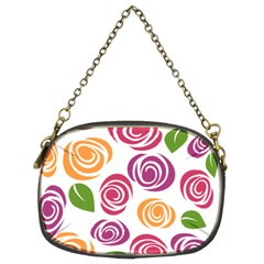 Colorful Seamless Floral Flowers Pattern Wallpaper Background Chain Purses (two Sides)