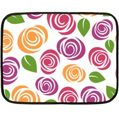 Colorful Seamless Floral Flowers Pattern Wallpaper Background Double Sided Fleece Blanket (Mini)
