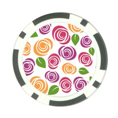 Colorful Seamless Floral Flowers Pattern Wallpaper Background Poker Chip Card Guard (10 pack)