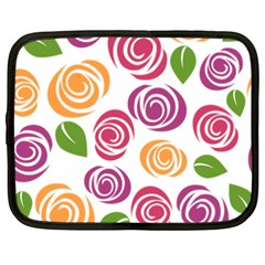 Colorful Seamless Floral Flowers Pattern Wallpaper Background Netbook Case (xxl)