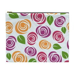 Colorful Seamless Floral Flowers Pattern Wallpaper Background Cosmetic Bag (xl)