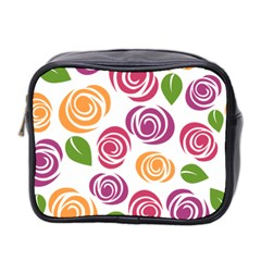 Colorful Seamless Floral Flowers Pattern Wallpaper Background Mini Toiletries Bag 2 Side