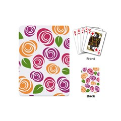 Colorful Seamless Floral Flowers Pattern Wallpaper Background Playing Cards (mini)