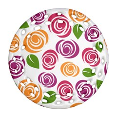 Colorful Seamless Floral Flowers Pattern Wallpaper Background Ornament (round Filigree)