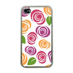 Colorful Seamless Floral Flowers Pattern Wallpaper Background Apple Iphone 4 Case (clear)
