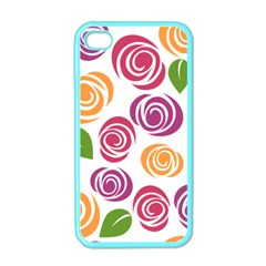Colorful Seamless Floral Flowers Pattern Wallpaper Background Apple Iphone 4 Case (color)