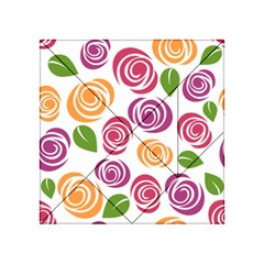 Colorful Seamless Floral Flowers Pattern Wallpaper Background Acrylic Tangram Puzzle (4  X 4 )